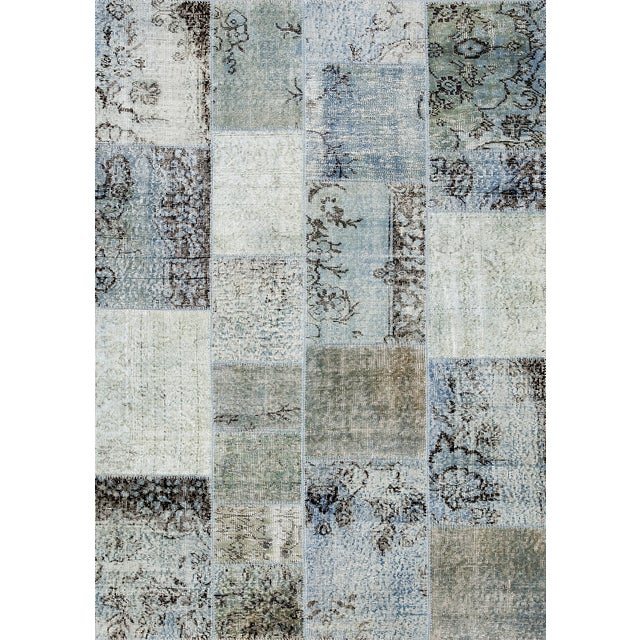 """Overdyed Gray Patchwork Rug- 4' 9"""" X 6' 8"""" - Image 1 of 2"""