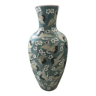 Chinoiserie Turquoise Cranes Porcelain Vase