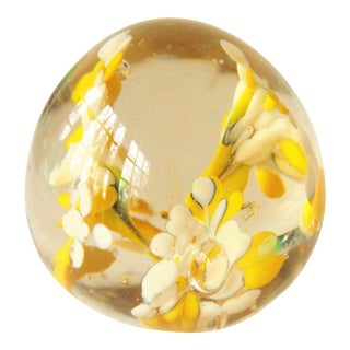 Hand Blown Yellow 3 Plume Art Glass Paperweight
