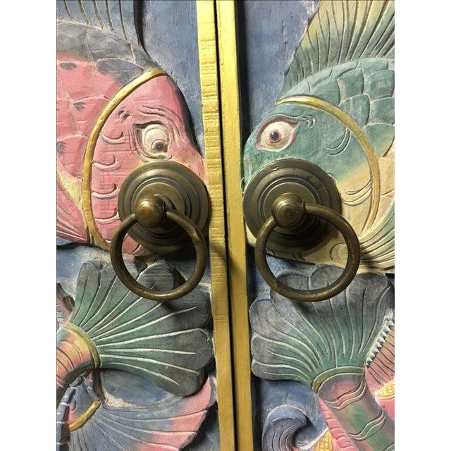 Image of Balinese Hand Carved Sealife Motif Door Panels