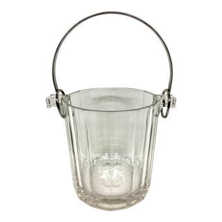 Italian Silver Plate Crystal Ice Bucket