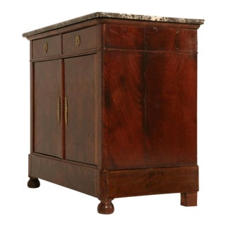 Petite Antique French Louis Philippe Flame Mahogany 2 Drawer over 2 Door Buffet