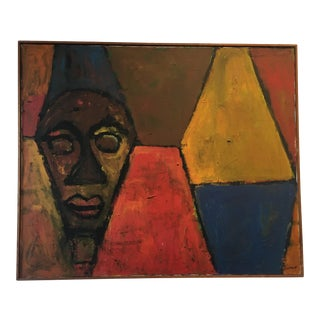 Cubist Modern Art Face on Canvas Painting by John Potter Wheat