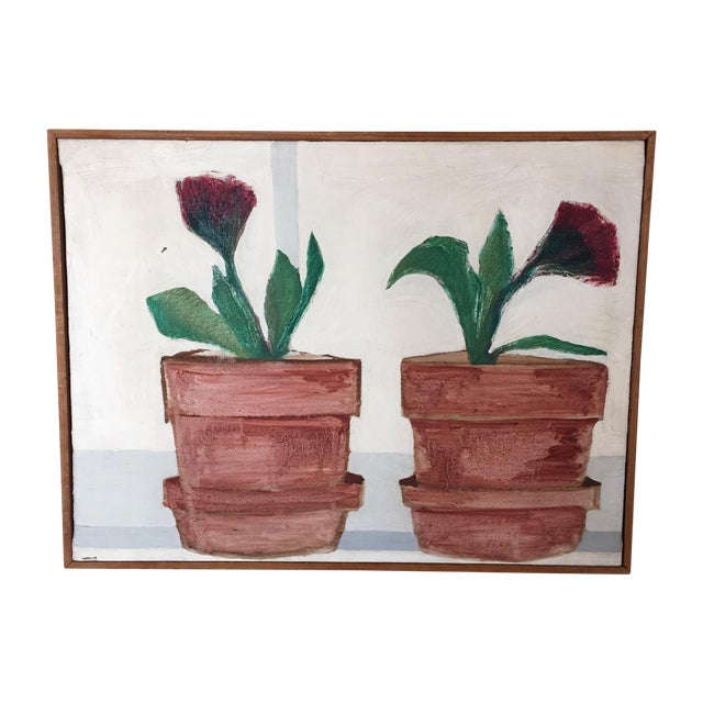 Mid-Century Flower Pot Painting - Image 1 of 10