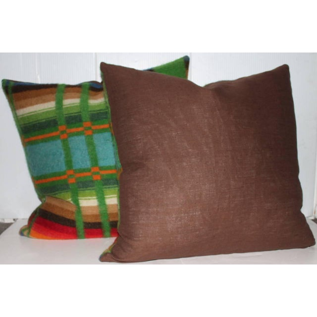 Pair of 19th Century Wool Horse Blanket Pillows - Image 2 of 4