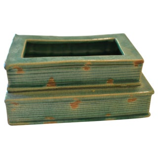 Green Ceramic Book Planter