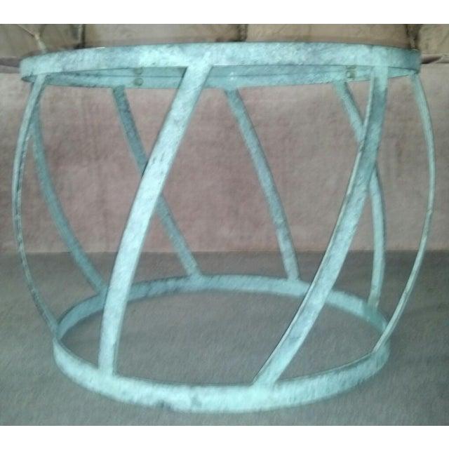 Karl Springer Barrel Recessed Finish Metal Tables - Image 3 of 4