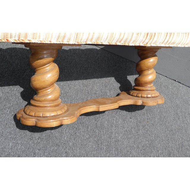 Vintage Mid-Century Tufted Stripped Bench - Image 8 of 10
