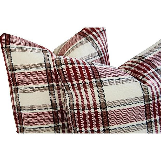 Custom Red, White & Black Plaid Pillows - A Pair - Image 5 of 7