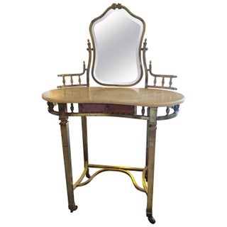 1940s French Romantic Brass and Marble Vanity