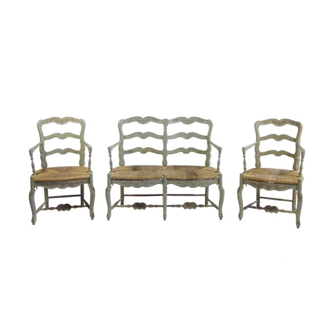 Pierre Deux-Style Settee & Chairs - Image 1 of 7