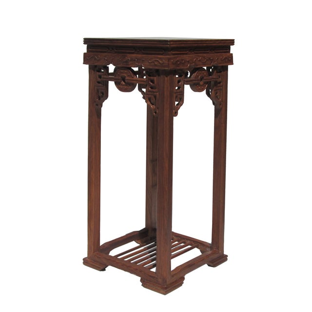 Image of Chinese Rosewood Coin Pattern Square Plant Stand