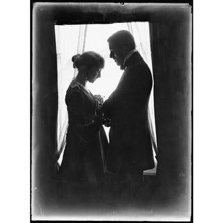 Early 1900's Man & Wife Next to Window Print