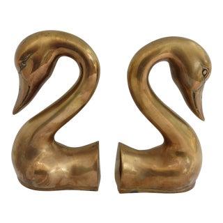 Brass Swan Bookends - A Pair