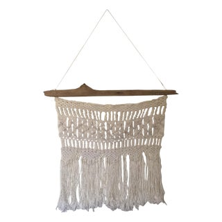 Vintage Macrame Wall Hanging on Driftwood