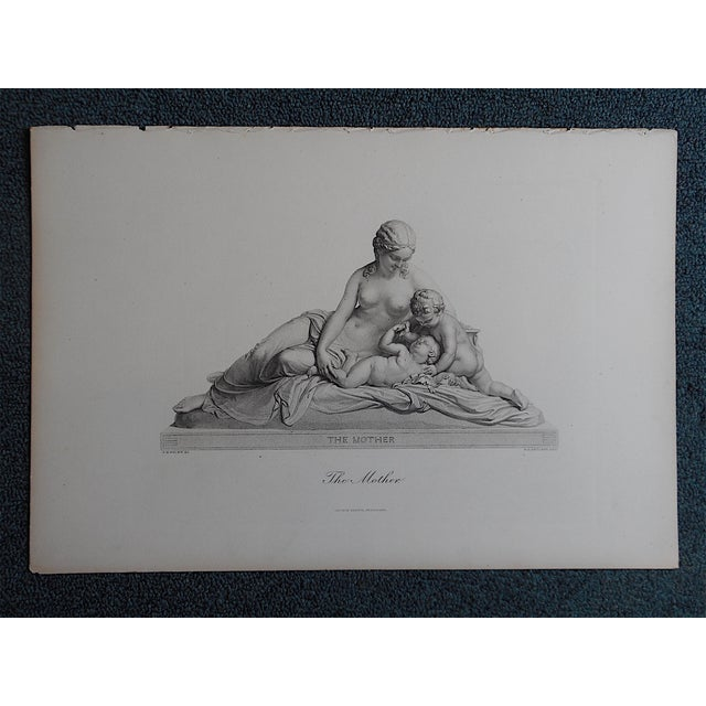 """Image of Antique Engraving """"The Mother"""" Folio Size"""