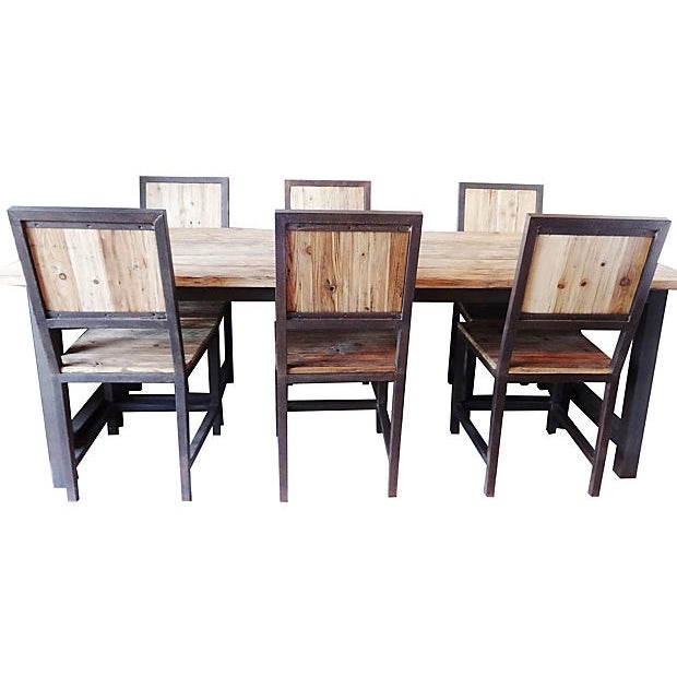 Iron Dining Set: Industrial Wood & Iron Dining Set