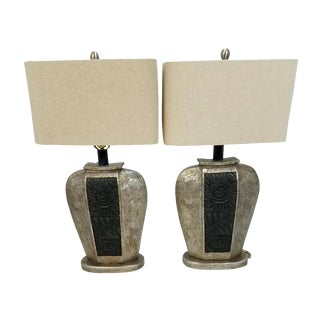 Striking Deco Faux Stone Carved Lamps - a Pair