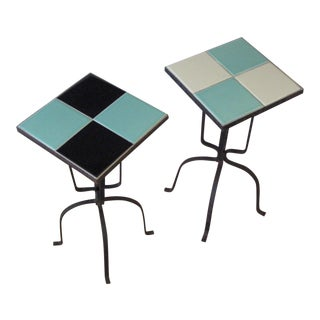 Vintage California Arts Ceramic Tile & Wrought Iron Side Tables- A Pair