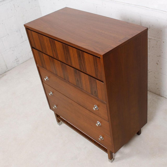 "Walnut & Rosewood Tall Chest W/ ""Radio Knob"" Pulls - Image 3 of 9"