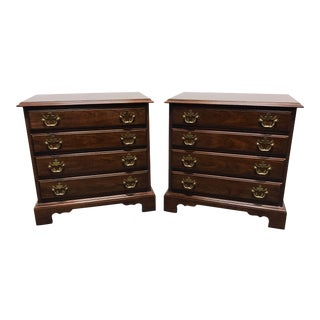 DREXEL Traditional Chippendale Cherry Bedside Chests Nightstands - a Pair