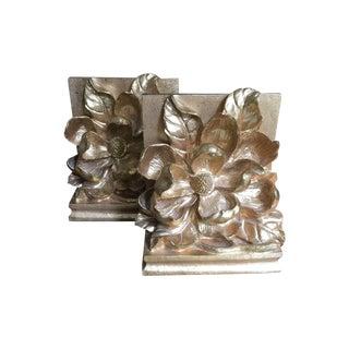 Vintge Gold Magnolia Bookends