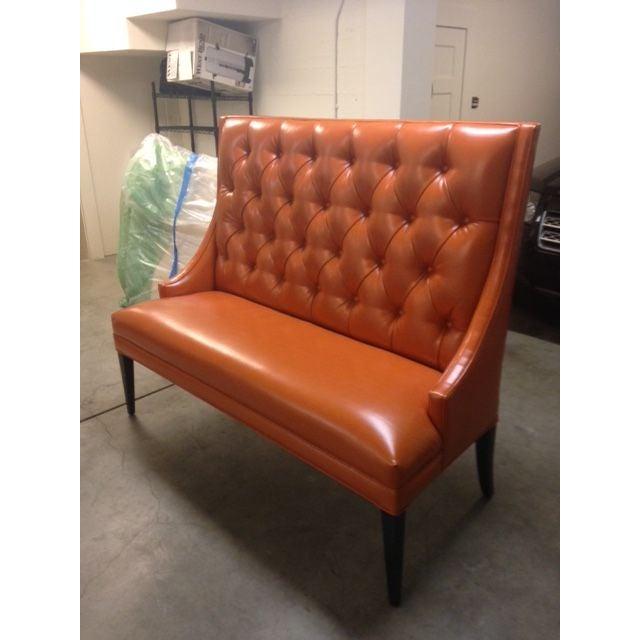 Custom Orange Faux Leather Banquette | Chairish