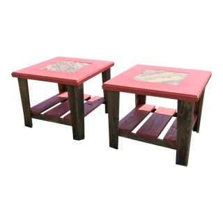 Desert Coral Reclaimed End Tables - A Pair