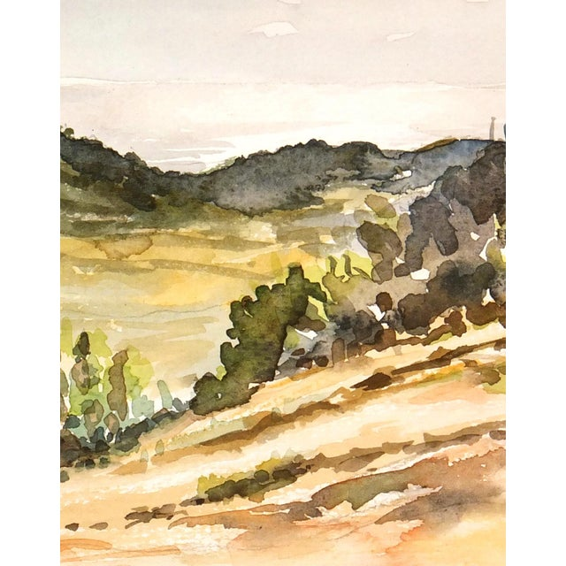 Image of Vintage Chaparral Landscape Watercolor Painting