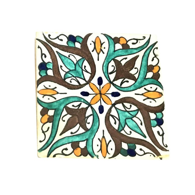Hand Painted Large Moroccan Decorative Tile - Image 1 of 2
