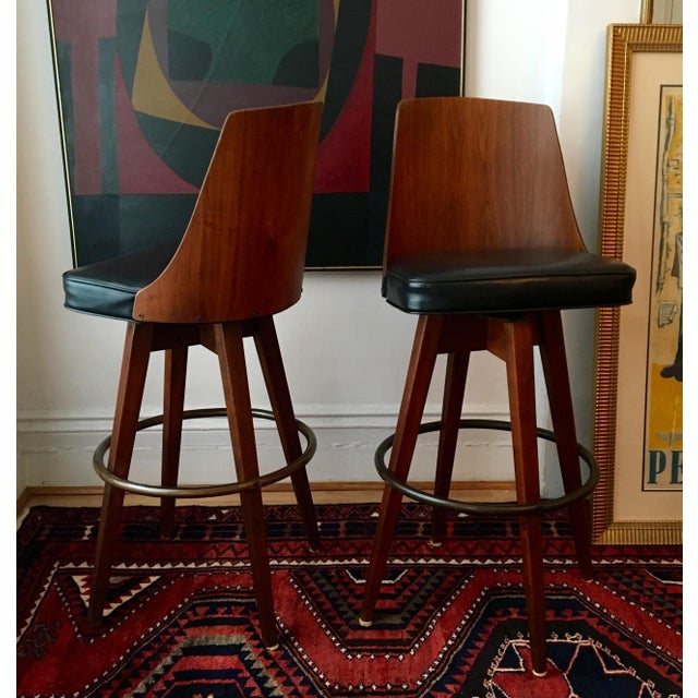 Image of Mid-Century Walnut Bentwood, Leather Swivel Barstools - A Pair