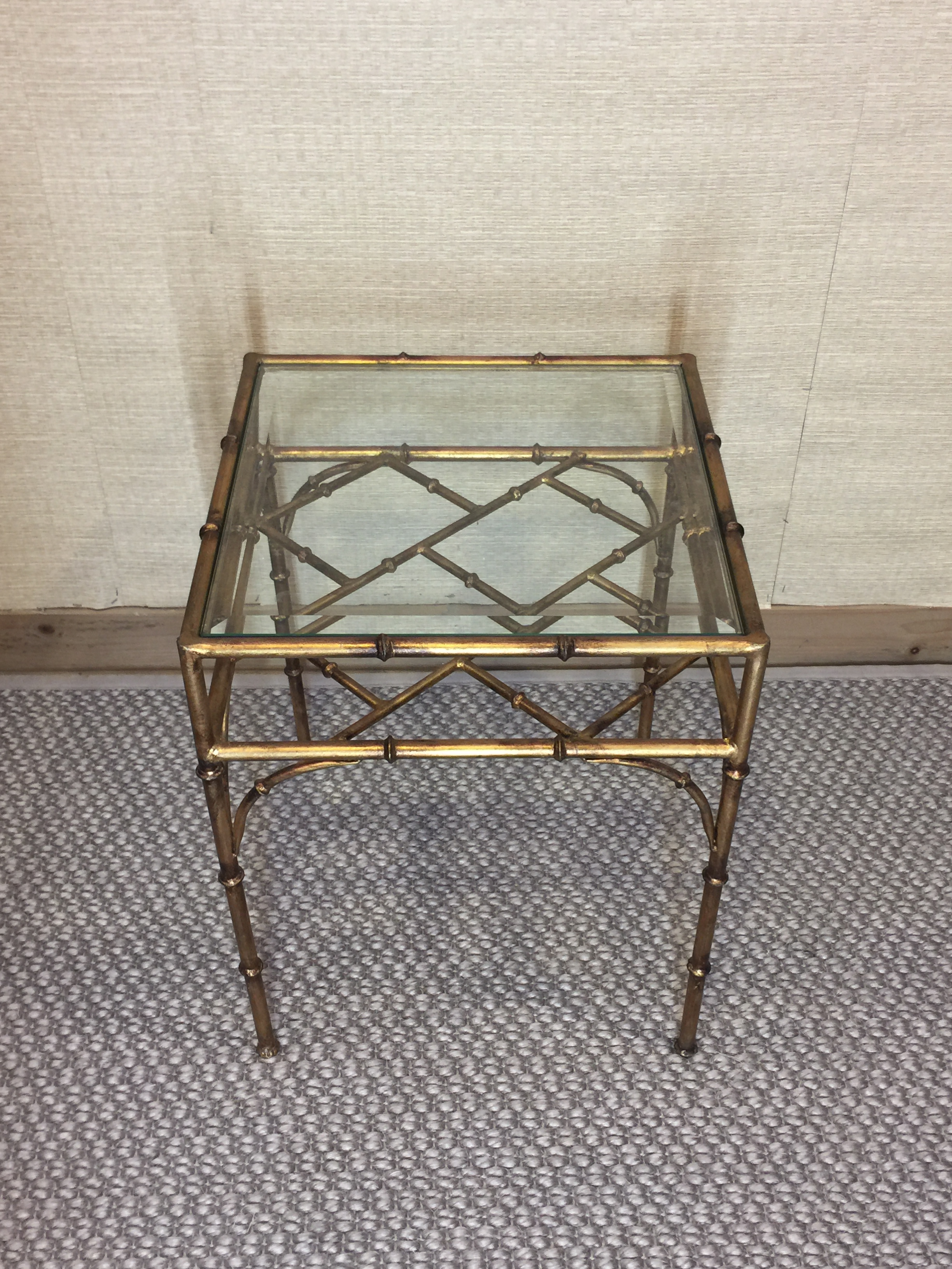 Faux Bamboo Gold Metal Glass Top Side Table   Image 7 Of 7