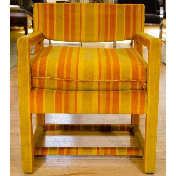 Mid-Century Orange Striped Velvet Armchairs - Pair - Image 9 of 10