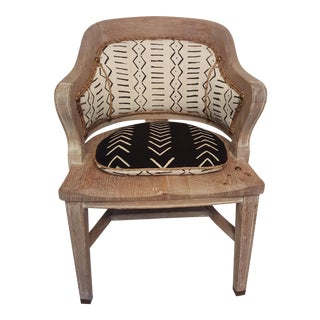 Cerused Oak Mud Cloth Accent Chair