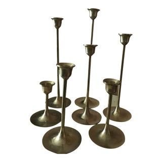 Mid-Century Modern Brass Tulip Candle Holders - Set of 7