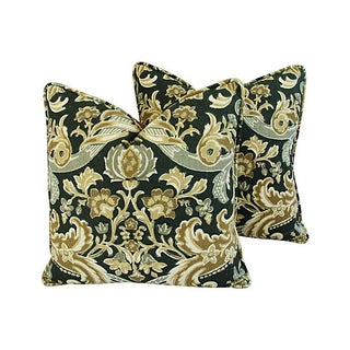 Kravet Lutron Damask Linen Pillows - A Pair