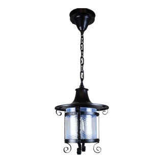Wrought Iron Porch Light with Twist Shade.