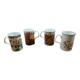 Floral Design Lascelles Fine Bone China Coffee Mugs - Set of 4