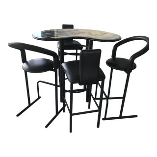 Bar Table and Stools - Set of 5