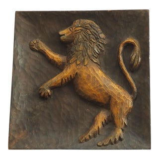 Spanish Carved Wood Lion Carving