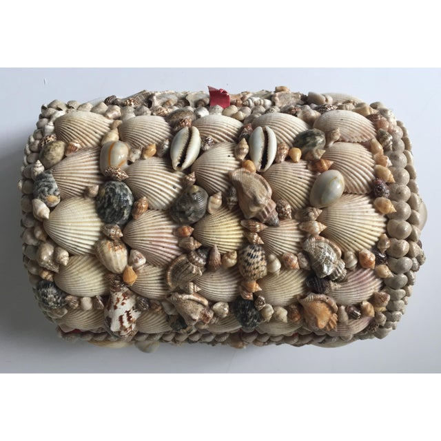 Image of Vintage Large Shell Covered Jewelry Box