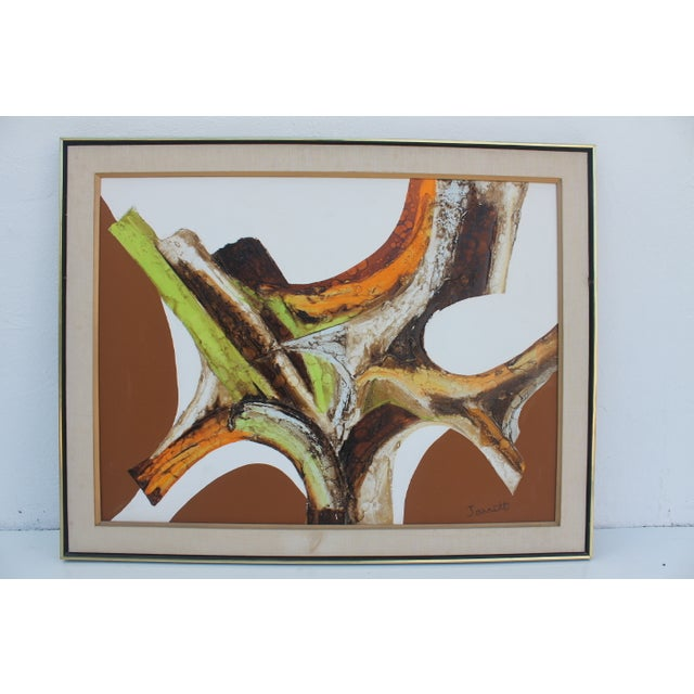 A- Large Vintage Expressionist Abstract Painting - Image 2 of 11