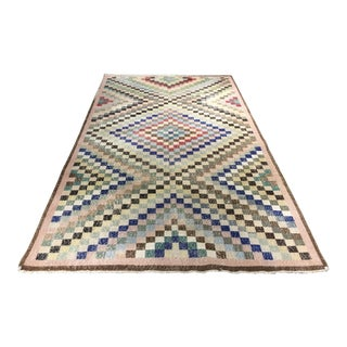 "Vintage Zeki Muren Turkish Distressed Checkerboard Rug- 5'5"" x 9'9"""