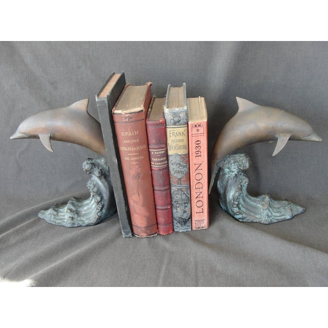Cresting Wave Bronze Bookend Dolphins - Pair - Image 7 of 11