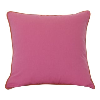 Pink Pillow With Orange Contrasting Welt