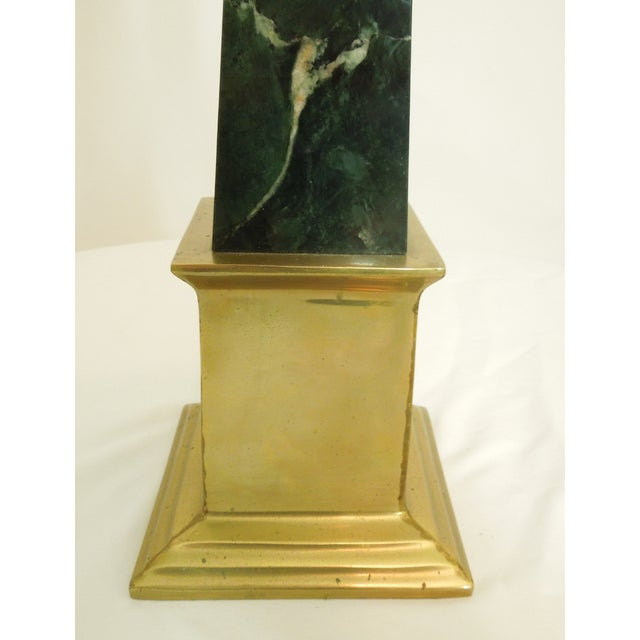 Image of 1970s Tall Green Marble Brass Obelisk Sculpture