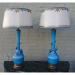 Image of Turquoise Murano Glass Lamps - A Pair