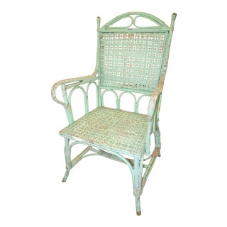 Green French vintage wicker chair