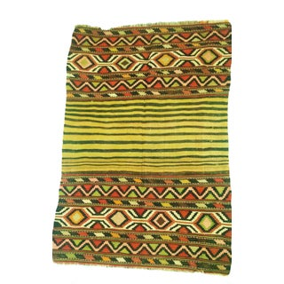 "1950 Geometric Afghan Cotton Kilim Rug-3'6""X4'6"""