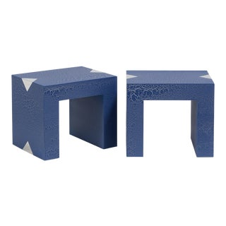The Rectangular Crackle Side Tables by Talisman Bespoke (Navy and Silver)